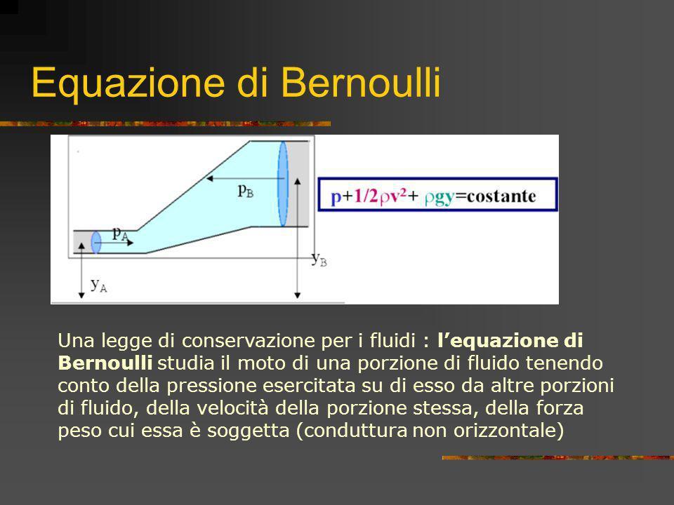 Equazione di Bernoulli Una legge di conservazione per i fluidi : lequazione di Bernoulli studia il moto di una porzione di fluido tenendo conto della