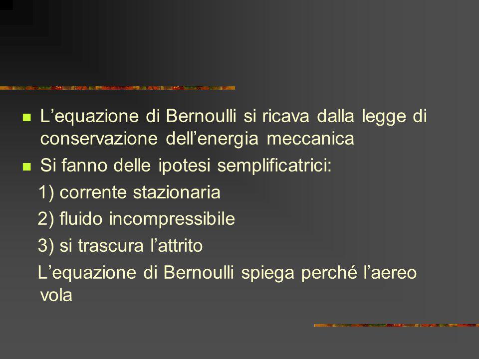 Lequazione di Bernoulli si ricava dalla legge di conservazione dellenergia meccanica Si fanno delle ipotesi semplificatrici: 1) corrente stazionaria 2