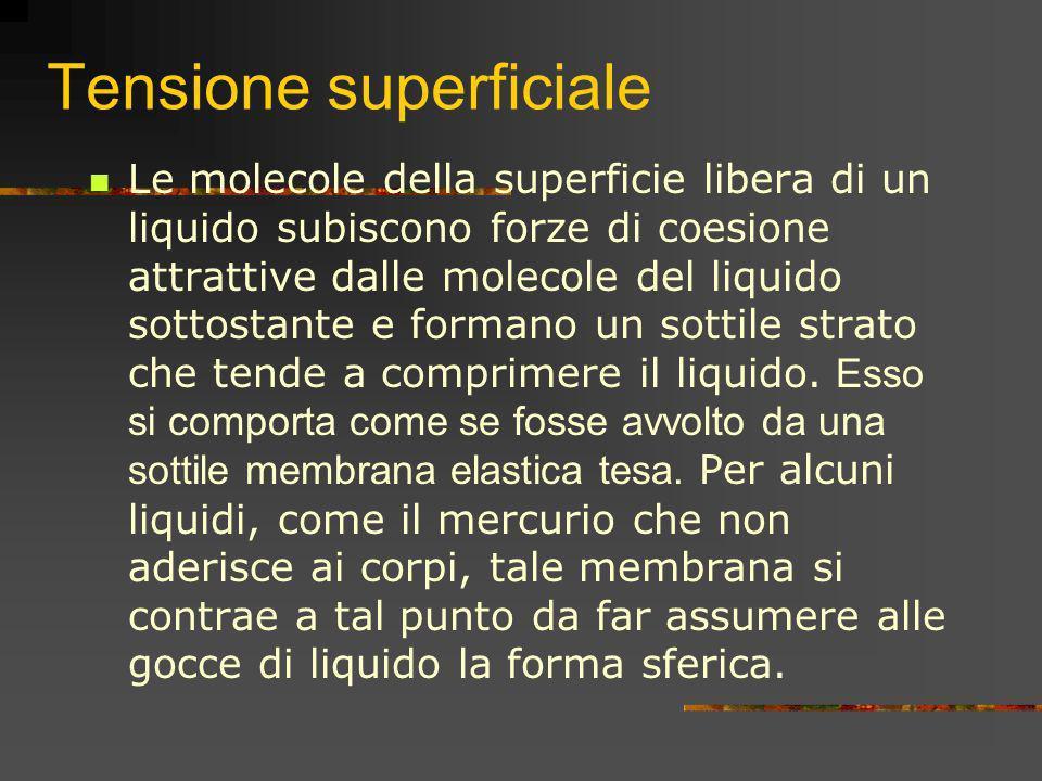Tensione superficiale Le molecole della superficie libera di un liquido subiscono forze di coesione attrattive dalle molecole del liquido sottostante