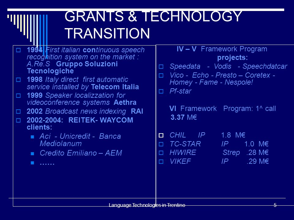 Language Technologies in Trentino5 GRANTS & TECHNOLOGY TRANSITION 1994 First italian continuous speech recognition system on the market : A.Re.S Grupp