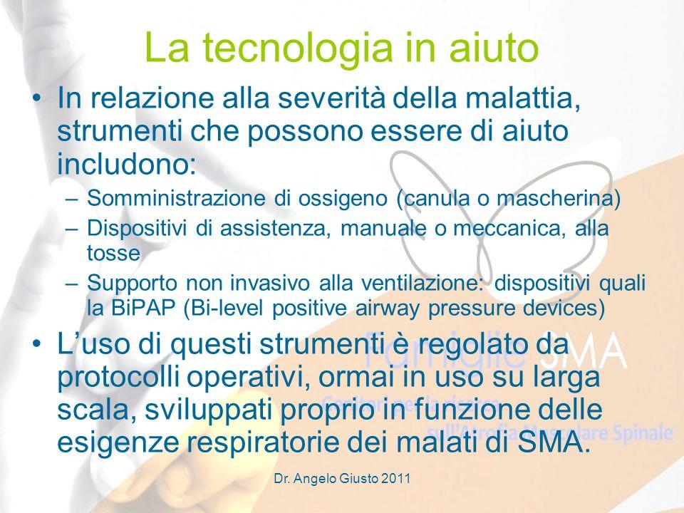 Dr. Angelo Giusto 2011 La tecnologia in aiuto In relazione alla severità della malattia, strumenti che possono essere di aiuto includono: –Somministra