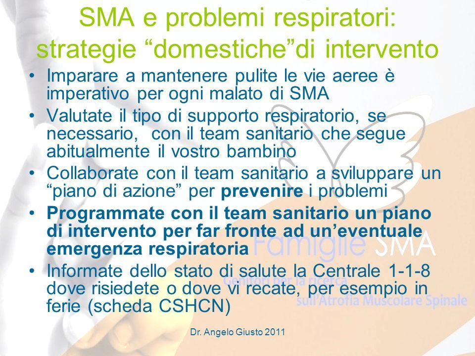 Dr. Angelo Giusto 2011 SMA e problemi respiratori: strategie domestichedi intervento Imparare a mantenere pulite le vie aeree è imperativo per ogni ma