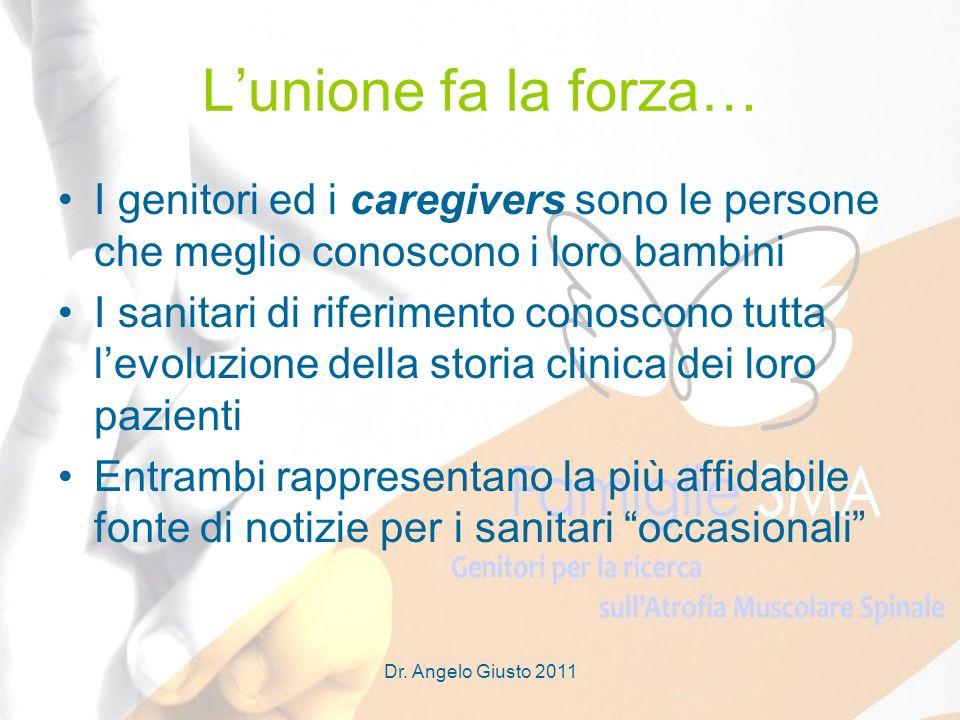 Dr. Angelo Giusto 2011 Lunione fa la forza… I genitori ed i caregivers sono le persone che meglio conoscono i loro bambini I sanitari di riferimento c