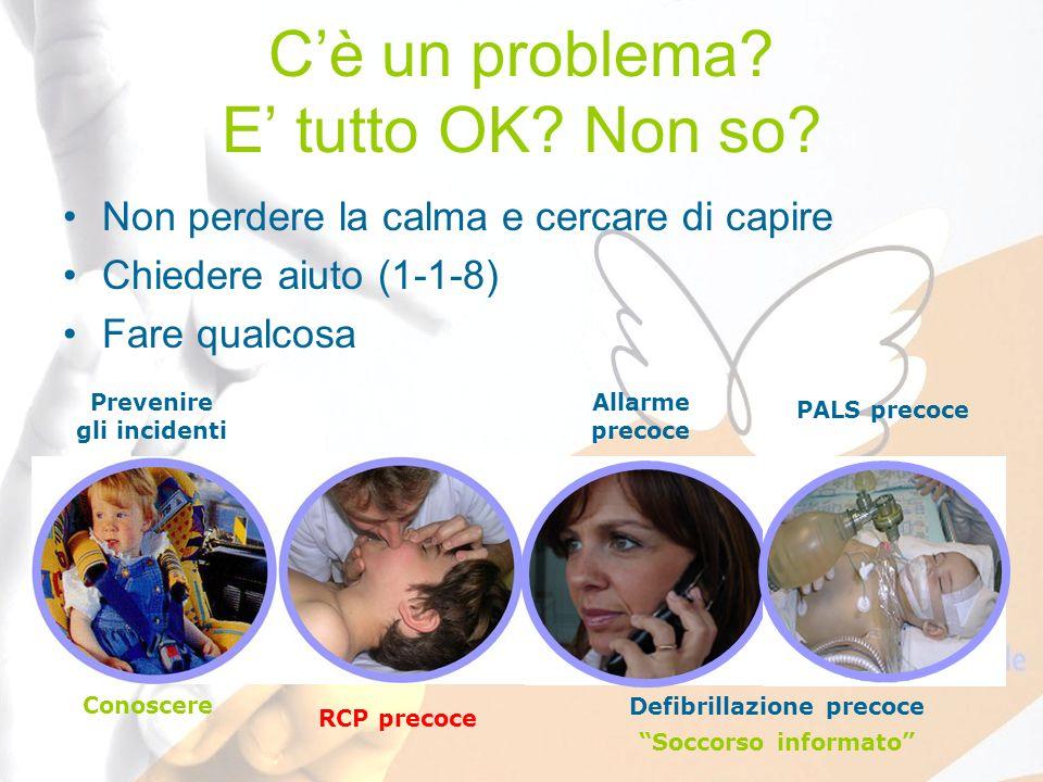 Cè un problema? E tutto OK? Non so? Non perdere la calma e cercare di capire Chiedere aiuto (1-1-8) Fare qualcosa Prevenire gli incidenti RCP precoce