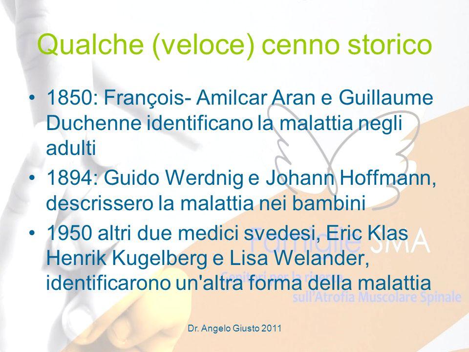 Dr. Angelo Giusto 2011 Qualche (veloce) cenno storico 1850: François- Amilcar Aran e Guillaume Duchenne identificano la malattia negli adulti 1894: Gu