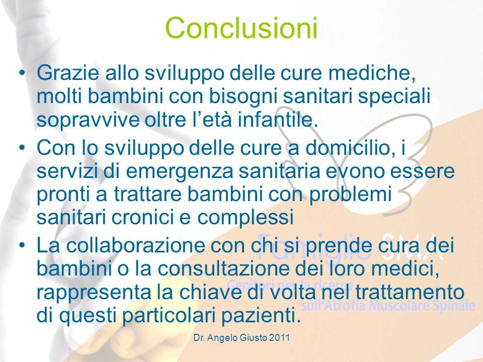 Dr. Angelo Giusto 2011 Conclusioni Grazie allo sviluppo delle cure mediche, molti bambini con bisogni sanitari speciali sopravvive oltre letà infantil