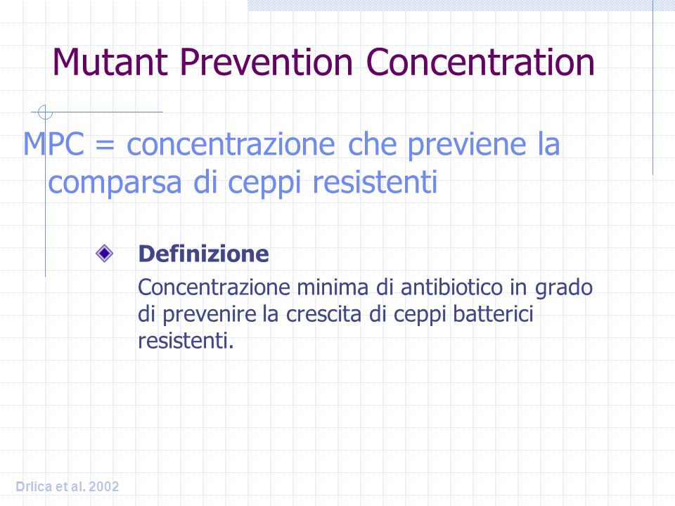MPC = concentrazione che previene la comparsa di ceppi resistenti Mutant Prevention Concentration Definizione Concentrazione minima di antibiotico in