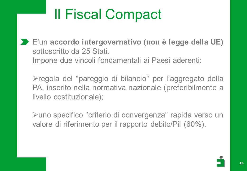 13 Il Fiscal Compact Eun accordo intergovernativo (non è legge della UE) sottoscritto da 25 Stati.