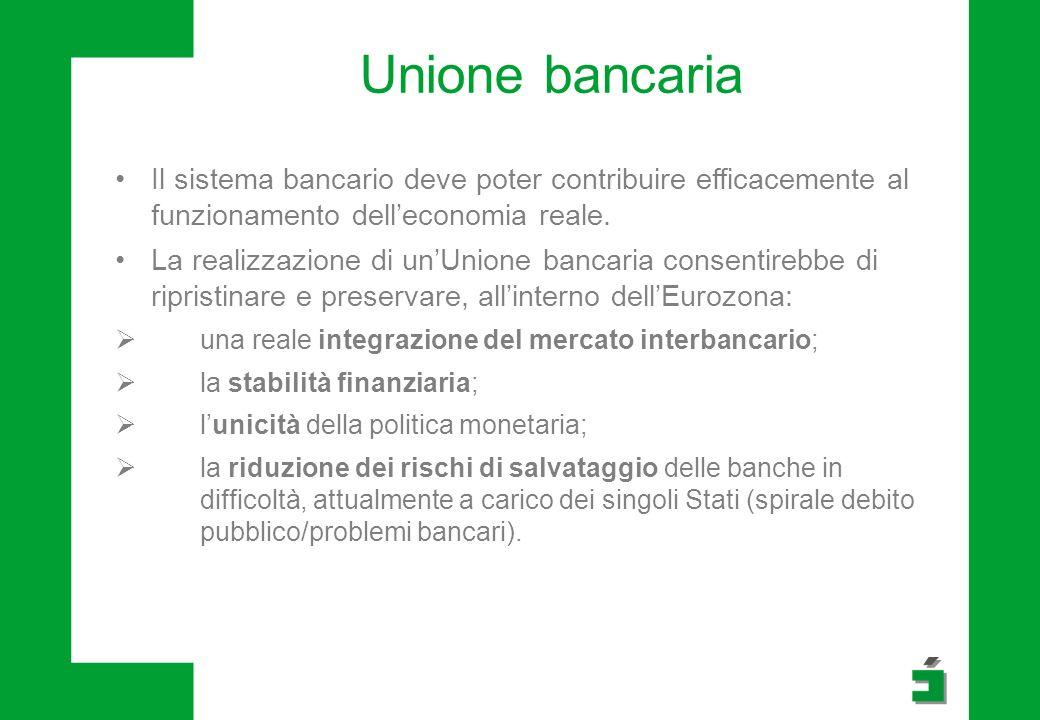 Unione bancaria Il sistema bancario deve poter contribuire efficacemente al funzionamento delleconomia reale.