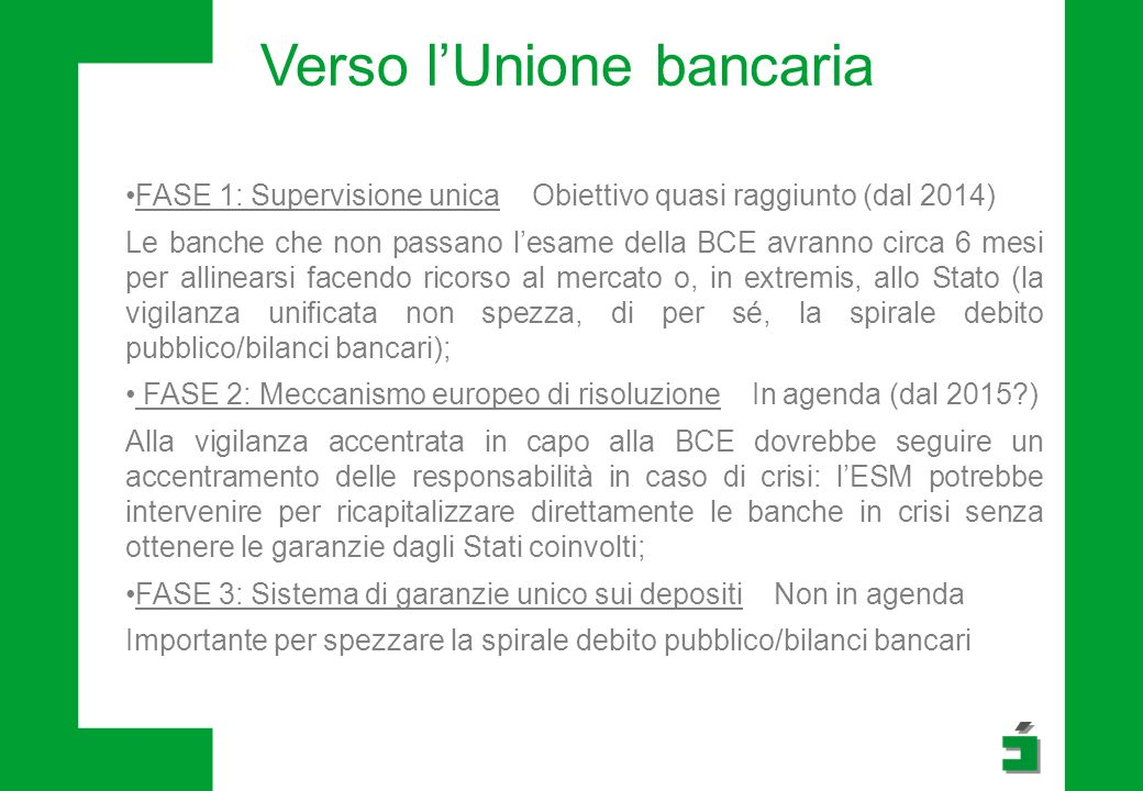 Verso lUnione bancaria FASE 1: Supervisione unica Obiettivo quasi raggiunto (dal 2014) Le banche che non passano lesame della BCE avranno circa 6 mesi per allinearsi facendo ricorso al mercato o, in extremis, allo Stato (la vigilanza unificata non spezza, di per sé, la spirale debito pubblico/bilanci bancari); FASE 2: Meccanismo europeo di risoluzione In agenda (dal 2015?) Alla vigilanza accentrata in capo alla BCE dovrebbe seguire un accentramento delle responsabilità in caso di crisi: lESM potrebbe intervenire per ricapitalizzare direttamente le banche in crisi senza ottenere le garanzie dagli Stati coinvolti; FASE 3: Sistema di garanzie unico sui depositi Non in agenda Importante per spezzare la spirale debito pubblico/bilanci bancari