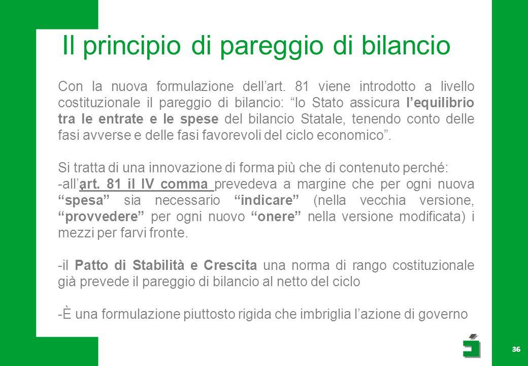 36 Il principio di pareggio di bilancio Con la nuova formulazione dellart.