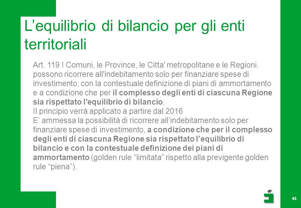 41 Lequilibrio di bilancio per gli enti territoriali Art.
