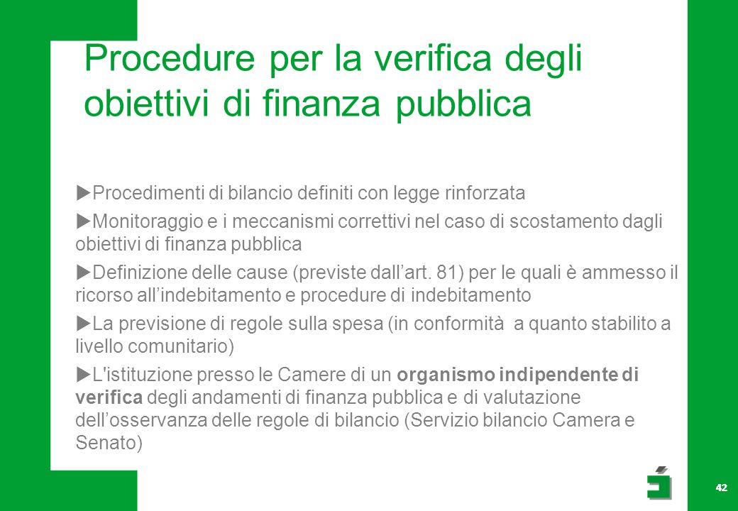 42 Procedure per la verifica degli obiettivi di finanza pubblica Procedimenti di bilancio definiti con legge rinforzata Monitoraggio e i meccanismi correttivi nel caso di scostamento dagli obiettivi di finanza pubblica Definizione delle cause (previste dallart.