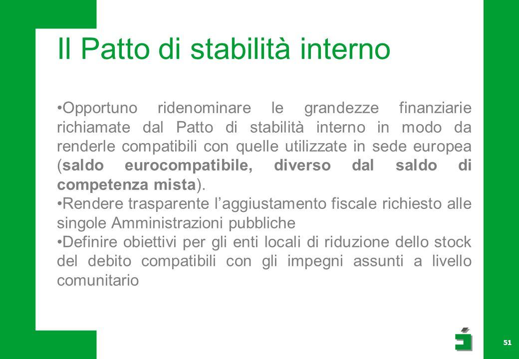 51 Il Patto di stabilità interno Opportuno ridenominare le grandezze finanziarie richiamate dal Patto di stabilità interno in modo da renderle compatibili con quelle utilizzate in sede europea (saldo eurocompatibile, diverso dal saldo di competenza mista).