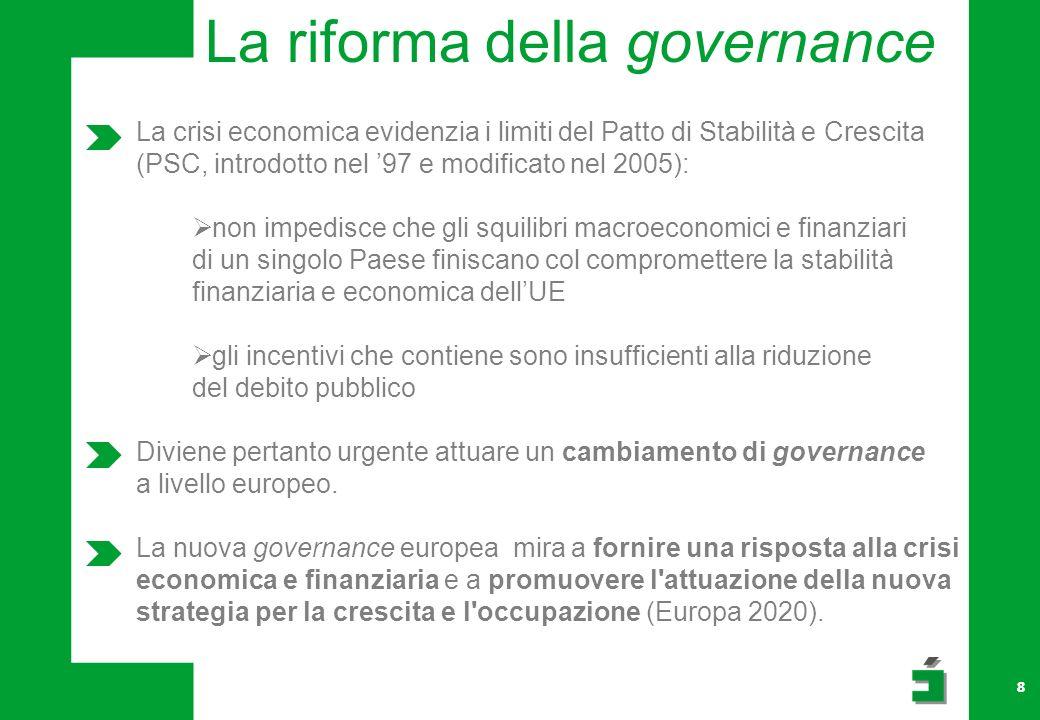 8 La riforma della governance La crisi economica evidenzia i limiti del Patto di Stabilità e Crescita (PSC, introdotto nel 97 e modificato nel 2005): non impedisce che gli squilibri macroeconomici e finanziari di un singolo Paese finiscano col compromettere la stabilità finanziaria e economica dellUE gli incentivi che contiene sono insufficienti alla riduzione del debito pubblico Diviene pertanto urgente attuare un cambiamento di governance a livello europeo.