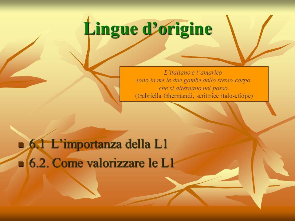 Lingue dorigine 6.1 Limportanza della L1 6.1 Limportanza della L1 6.2. Come valorizzare le L1 6.2. Come valorizzare le L1 Litaliano e lamarico sono in