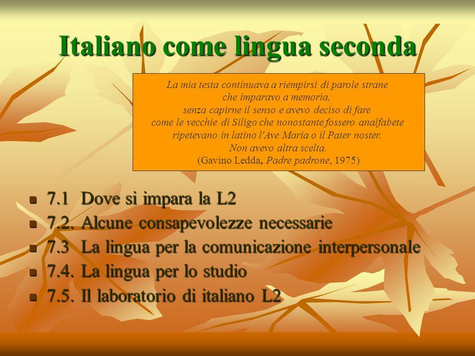 Italiano come lingua seconda 7.1 Dove si impara la L2 7.1 Dove si impara la L2 7.2. Alcune consapevolezze necessarie 7.2. Alcune consapevolezze necess