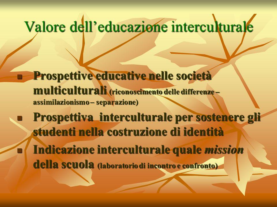 Valore delleducazione interculturale Prospettive educative nelle società multiculturali (riconoscimento delle differenze – assimilazionismo – separazi