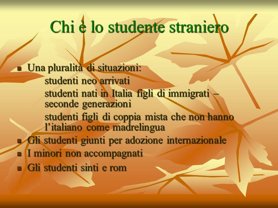 Chi è lo studente straniero Una pluralità di situazioni: Una pluralità di situazioni: studenti neo arrivati studenti nati in Italia figli di immigrati