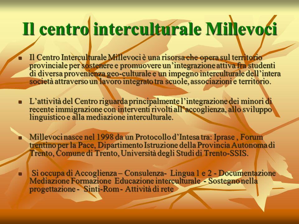 Il centro interculturale Millevoci Il Centro Interculturale Millevoci è una risorsa che opera sul territorio provinciale per sostenere e promuovere un