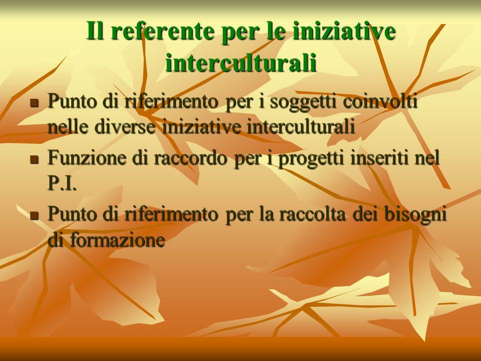 Il referente per le iniziative interculturali Punto di riferimento per i soggetti coinvolti nelle diverse iniziative interculturali Punto di riferimen