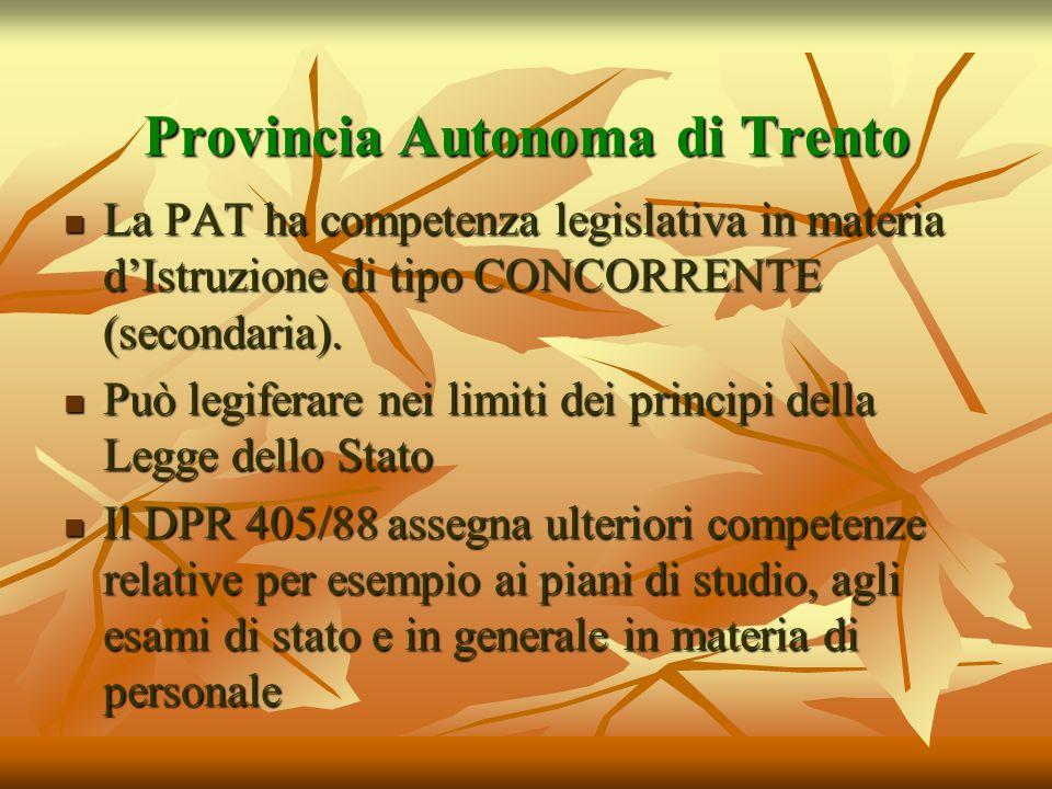 Provincia Autonoma di Trento La PAT ha competenza legislativa in materia dIstruzione di tipo CONCORRENTE (secondaria). La PAT ha competenza legislativ