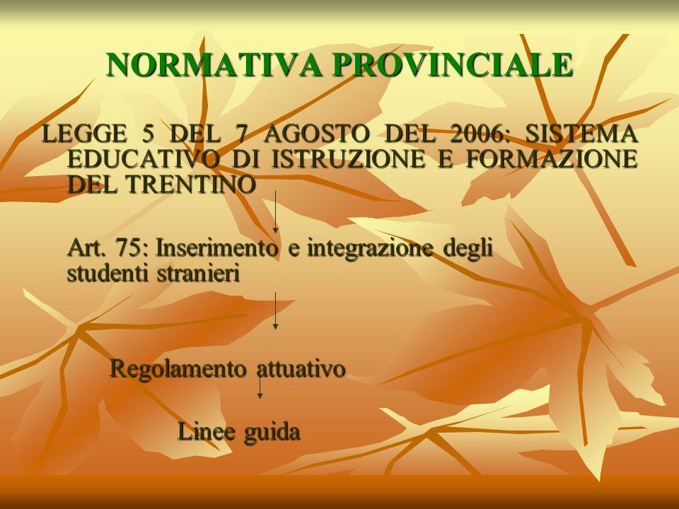 NORMATIVA PROVINCIALE LEGGE 5 DEL 7 AGOSTO DEL 2006: SISTEMA EDUCATIVO DI ISTRUZIONE E FORMAZIONE DEL TRENTINO Art. 75: Inserimento e integrazione deg