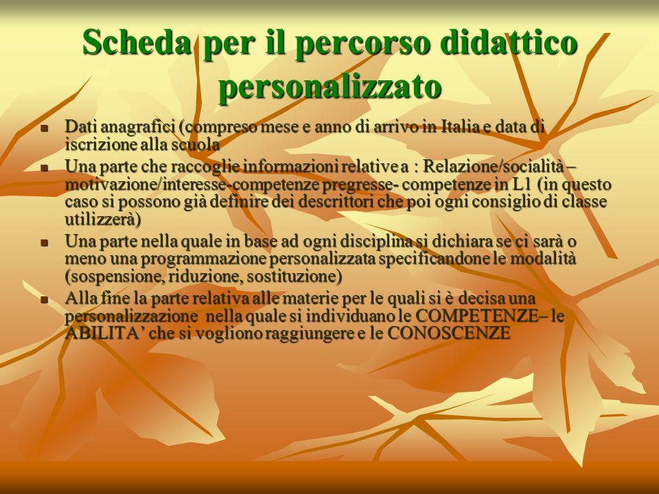Scheda per il percorso didattico personalizzato Dati anagrafici (compreso mese e anno di arrivo in Italia e data di iscrizione alla scuola Dati anagra