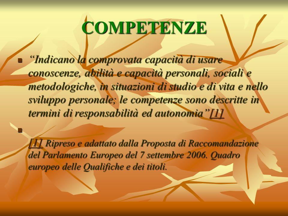 COMPETENZE Indicano la comprovata capacità di usare conoscenze, abilità e capacità personali, sociali e metodologiche, in situazioni di studio e di vi