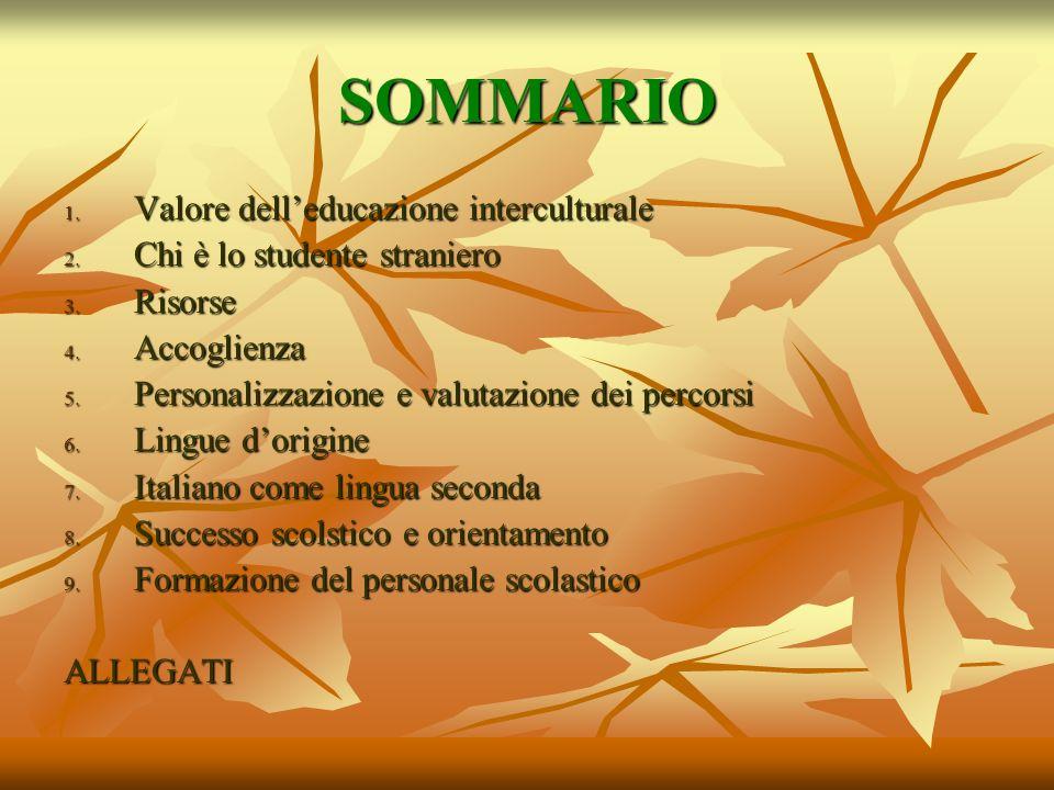 SOMMARIO 1. Valore delleducazione interculturale 2. Chi è lo studente straniero 3. Risorse 4. Accoglienza 5. Personalizzazione e valutazione dei perco