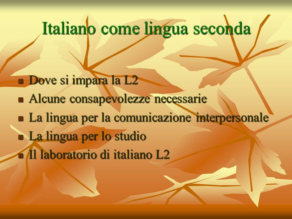 Italiano come lingua seconda Dove si impara la L2 Dove si impara la L2 Alcune consapevolezze necessarie Alcune consapevolezze necessarie La lingua per