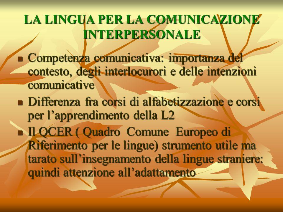 LA LINGUA PER LA COMUNICAZIONE INTERPERSONALE Competenza comunicativa: importanza del contesto, degli interlocurori e delle intenzioni comunicative Co