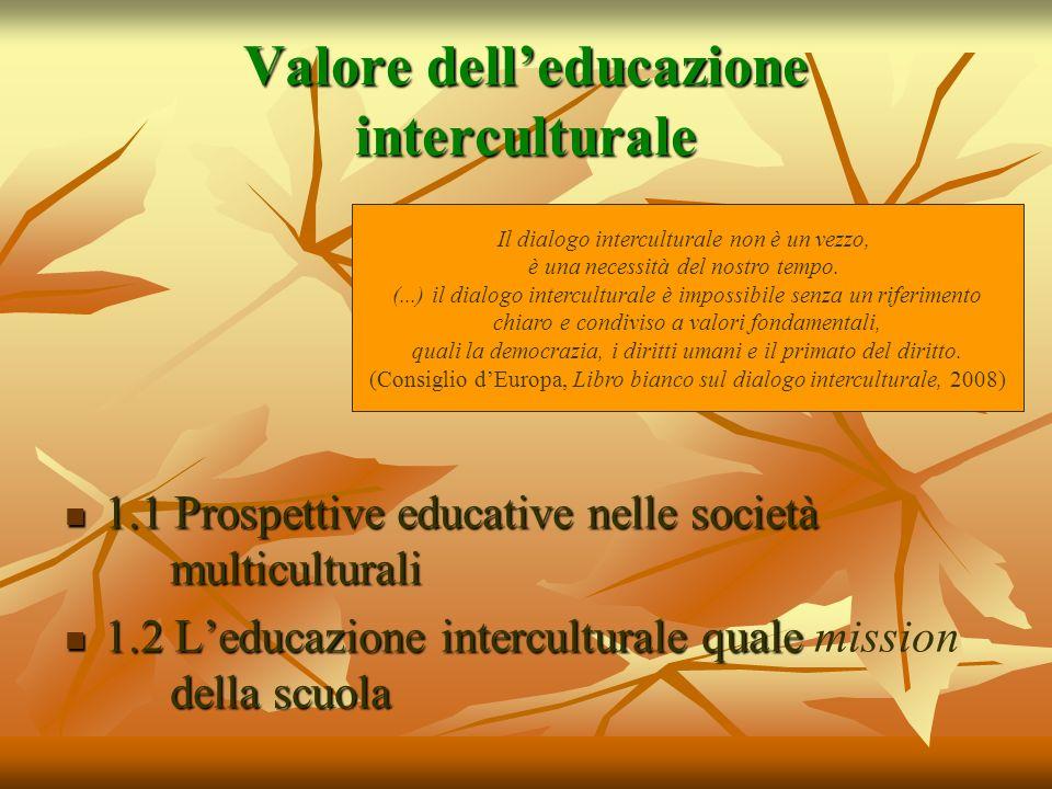 Valore delleducazione interculturale 1.1 Prospettive educative nelle società multiculturali 1.1 Prospettive educative nelle società multiculturali 1.2