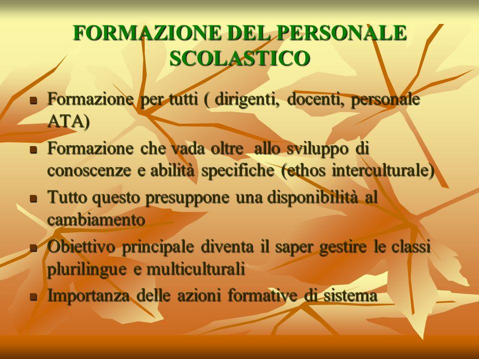 FORMAZIONE DEL PERSONALE SCOLASTICO Formazione per tutti ( dirigenti, docenti, personale ATA) Formazione per tutti ( dirigenti, docenti, personale ATA