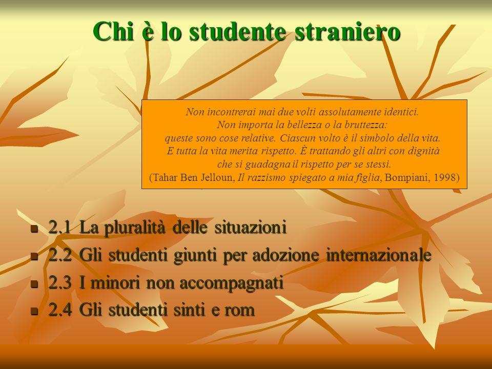 Chi è lo studente straniero 2.1 La pluralità delle situazioni 2.1 La pluralità delle situazioni 2.2 Gli studenti giunti per adozione internazionale 2.