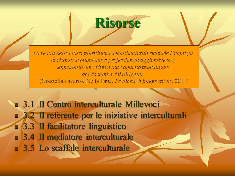 Risorse 3.1 Il Centro interculturale Millevoci 3.1 Il Centro interculturale Millevoci 3.2 Il referente per le iniziative interculturali 3.2 Il referen