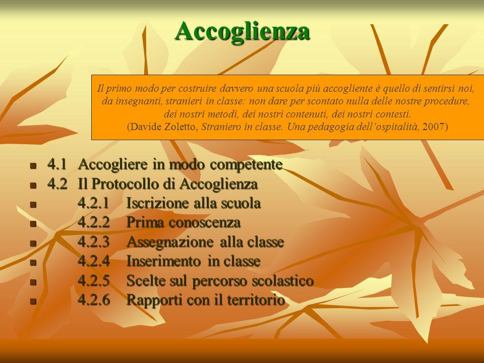 Accoglienza 4.1Accogliere in modo competente 4.1Accogliere in modo competente 4.2 Il Protocollo di Accoglienza 4.2 Il Protocollo di Accoglienza 4.2.1I