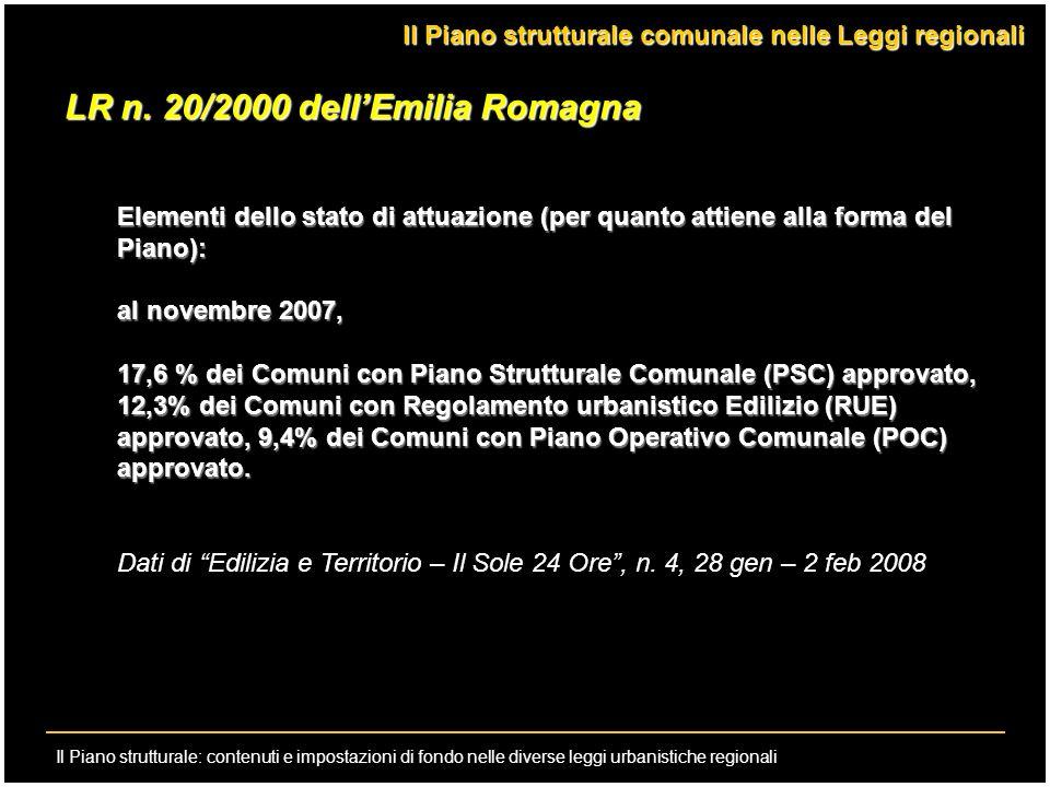 Il Piano strutturale: contenuti e impostazioni di fondo nelle diverse leggi urbanistiche regionali Il Piano strutturale comunale nelle Leggi regionali
