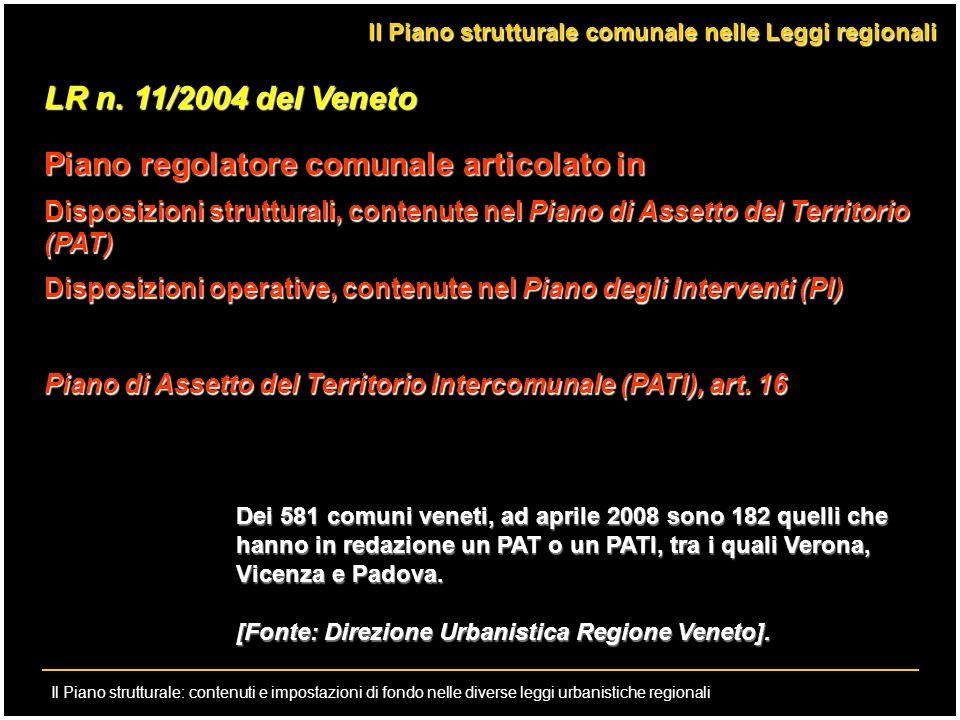 Il Piano strutturale: contenuti e impostazioni di fondo nelle diverse leggi urbanistiche regionali LR n. 11/2004 del Veneto Piano regolatore comunale