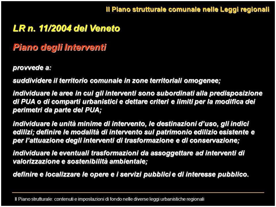 Il Piano strutturale: contenuti e impostazioni di fondo nelle diverse leggi urbanistiche regionali LR n. 11/2004 del Veneto Piano degli Interventi pro