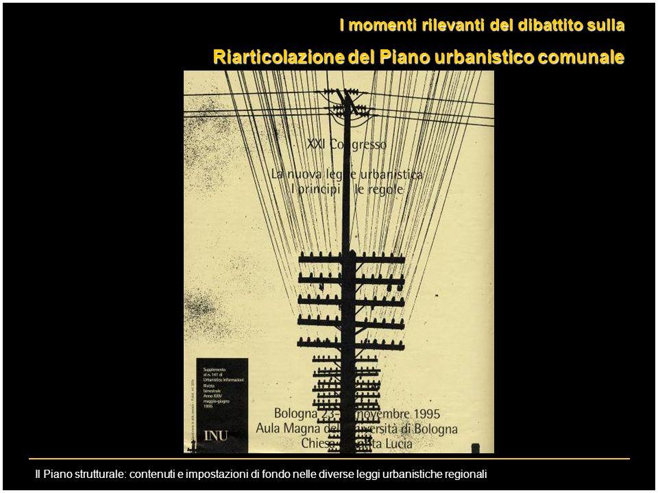 Il Piano strutturale: contenuti e impostazioni di fondo nelle diverse leggi urbanistiche regionali I momenti rilevanti del dibattito sulla Riarticolaz