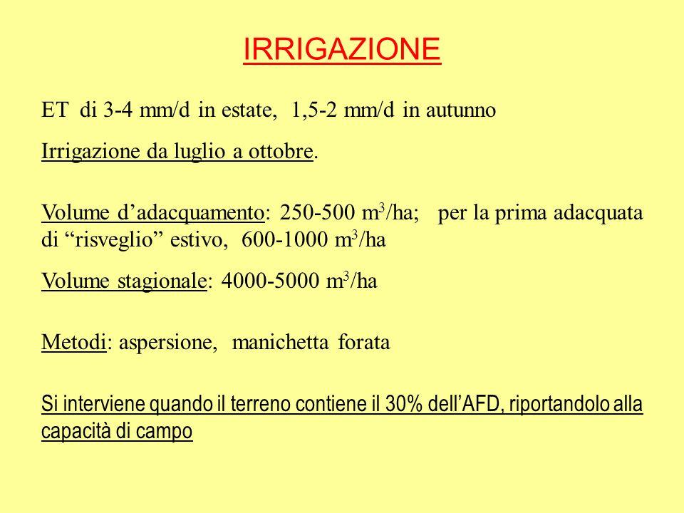 IRRIGAZIONE ET di 3-4 mm/d in estate, 1,5-2 mm/d in autunno Irrigazione da luglio a ottobre. Volume dadacquamento: 250-500 m 3 /ha; per la prima adacq