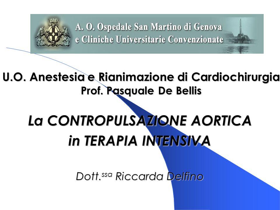 U.O. Anestesia e Rianimazione di Cardiochirurgia Prof. Pasquale De Bellis La CONTROPULSAZIONE AORTICA in TERAPIA INTENSIVA Dott. ssa Riccarda Delfino