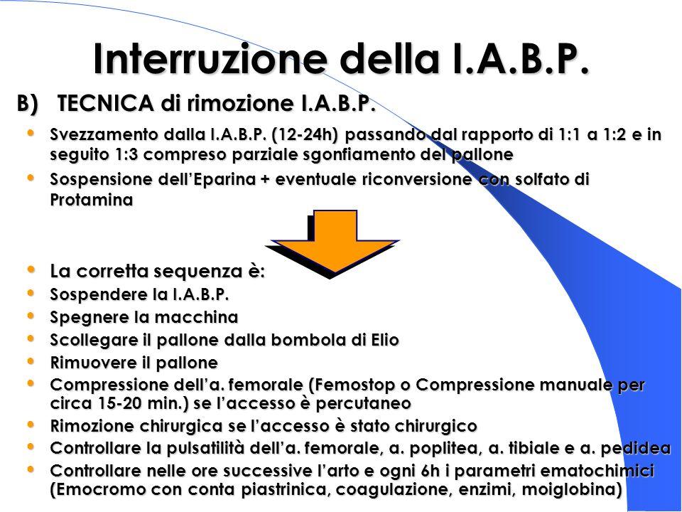 Interruzione della I.A.B.P. Svezzamento dalla I.A.B.P. (12-24h) passando dal rapporto di 1:1 a 1:2 e in seguito 1:3 compreso parziale sgonfiamento del