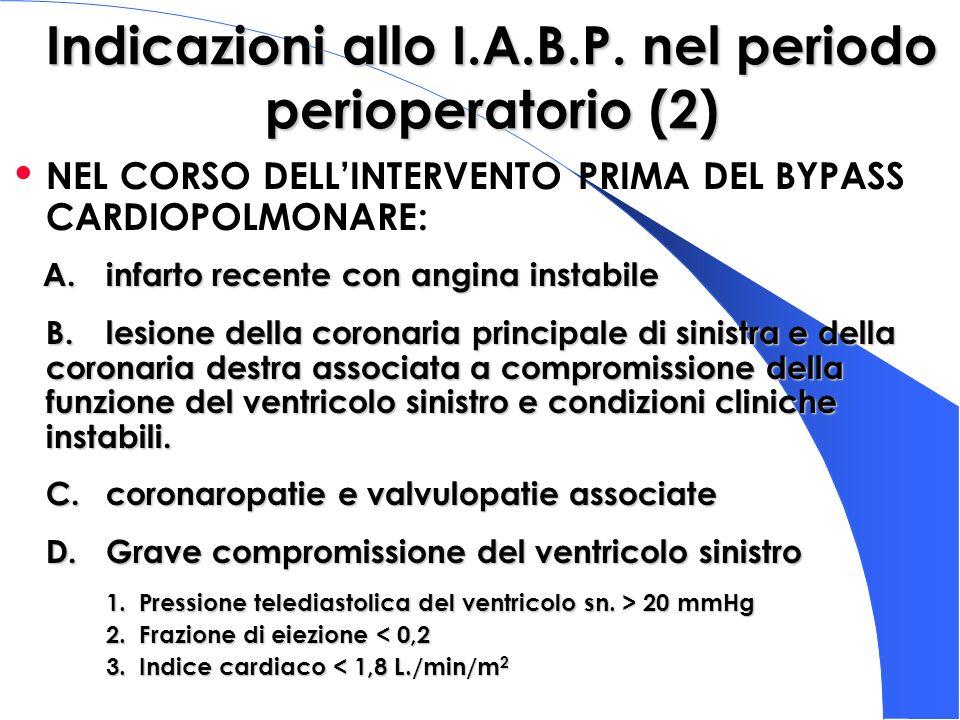 Indicazioni allo I.A.B.P. nel periodo perioperatorio (2) NEL CORSO DELLINTERVENTO PRIMA DEL BYPASS CARDIOPOLMONARE: A. infarto recente con angina inst