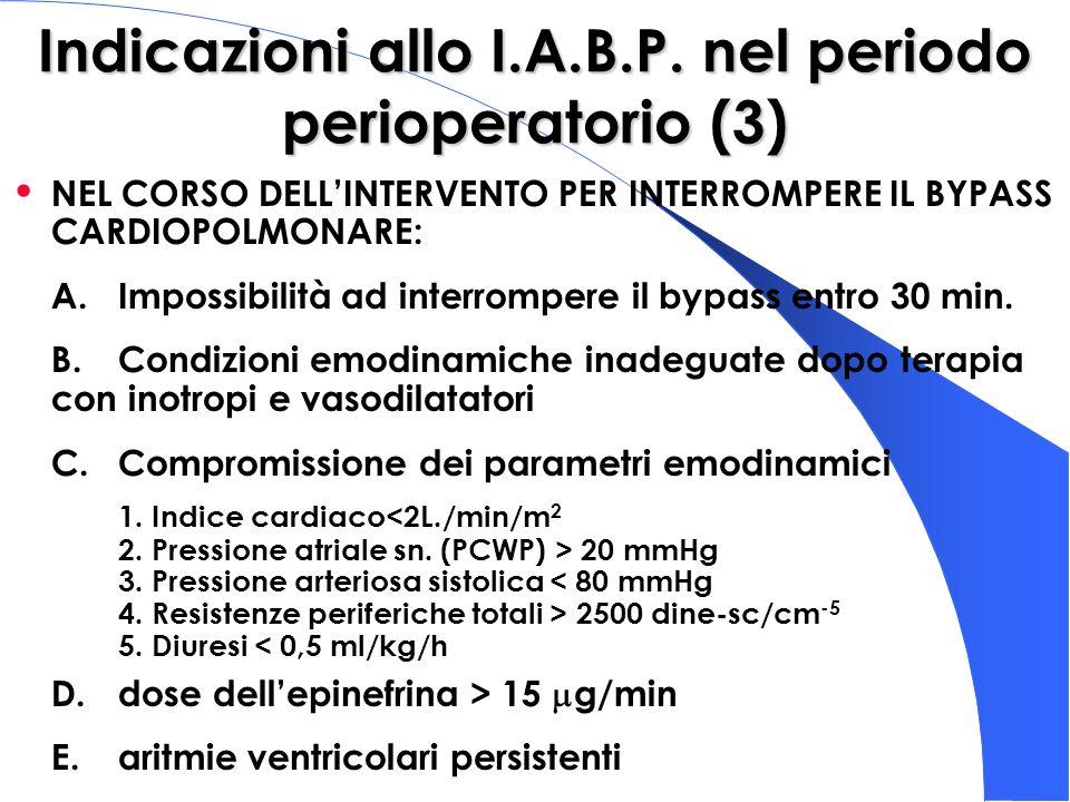 Indicazioni allo I.A.B.P. nel periodo perioperatorio (3) NEL CORSO DELLINTERVENTO PER INTERROMPERE IL BYPASS CARDIOPOLMONARE: A.Impossibilità ad inter