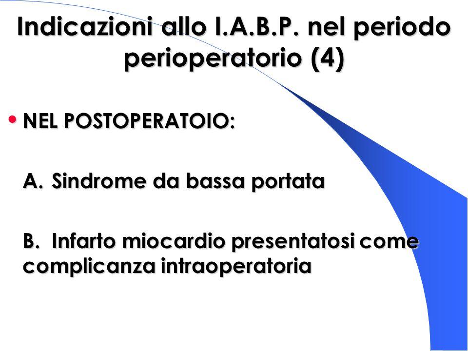 Indicazioni allo I.A.B.P. nel periodo perioperatorio (4) NEL POSTOPERATOIO: NEL POSTOPERATOIO: A.Sindrome da bassa portata B.Infarto miocardio present