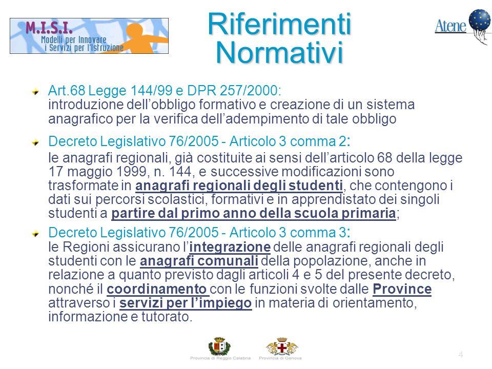 4 Riferimenti Normativi Art.68 Legge 144/99 e DPR 257/2000: introduzione dellobbligo formativo e creazione di un sistema anagrafico per la verifica delladempimento di tale obbligo Decreto Legislativo 76/2005 - Articolo 3 comma 2 : le anagrafi regionali, già costituite ai sensi dellarticolo 68 della legge 17 maggio 1999, n.