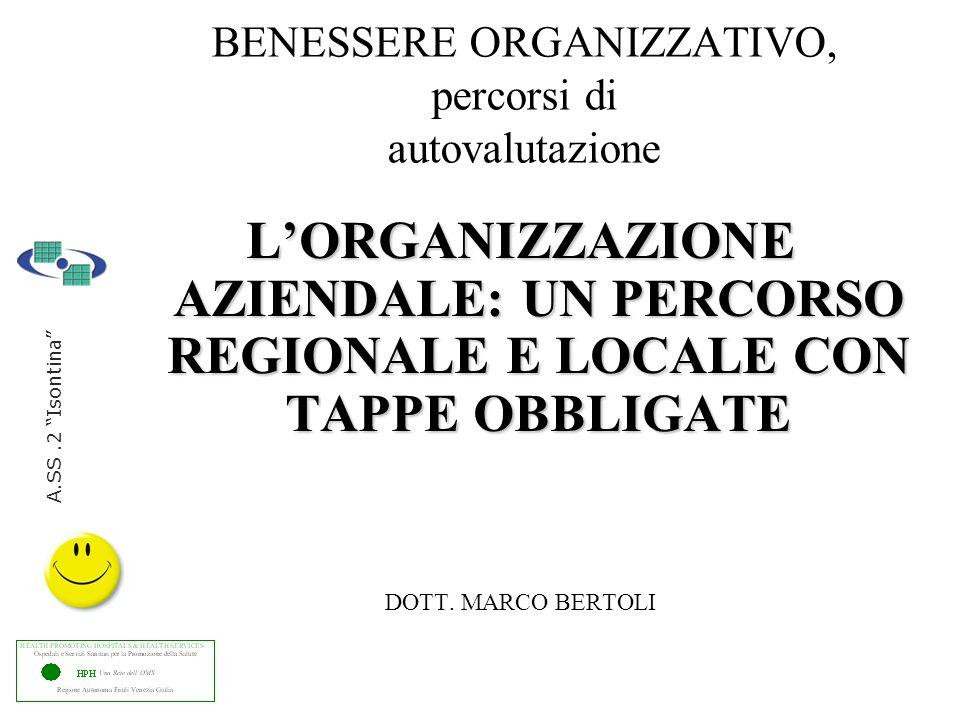 BENESSERE ORGANIZZATIVO, percorsi di autovalutazione LORGANIZZAZIONE AZIENDALE: UN PERCORSO REGIONALE E LOCALE CON TAPPE OBBLIGATE DOTT.