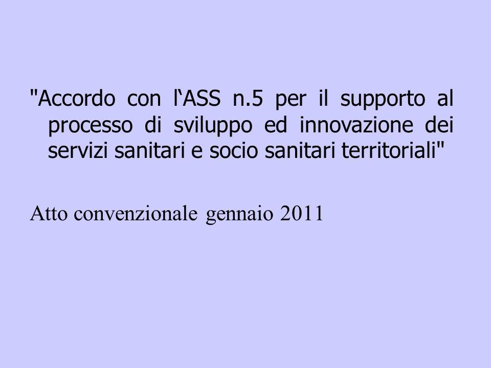 Accordo con lASS n.5 per il supporto al processo di sviluppo ed innovazione dei servizi sanitari e socio sanitari territoriali Atto convenzionale gennaio 2011